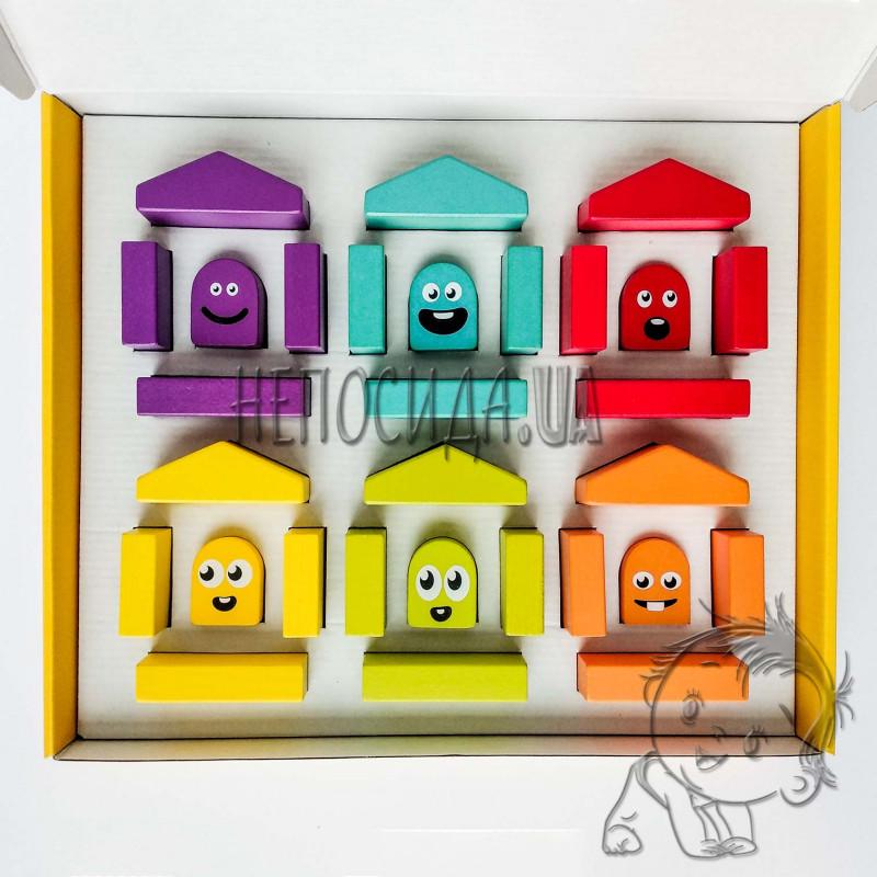 Деревянный конструктор Цветные домики