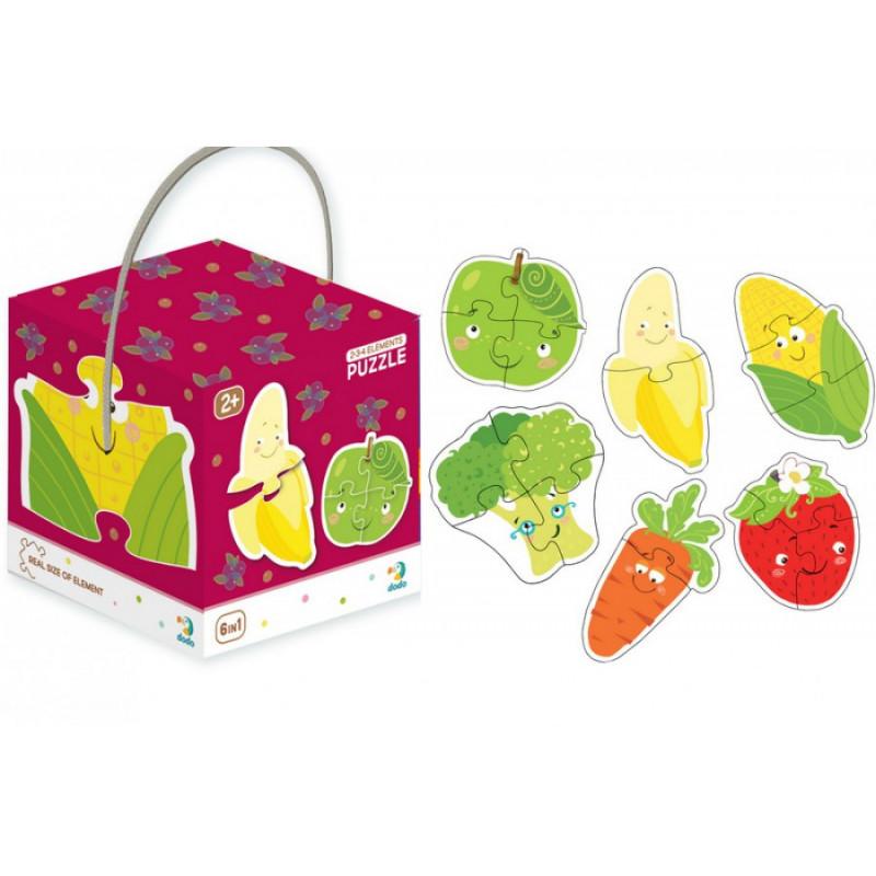Пазлы  2-3-4 элементы Фрукты и овощи