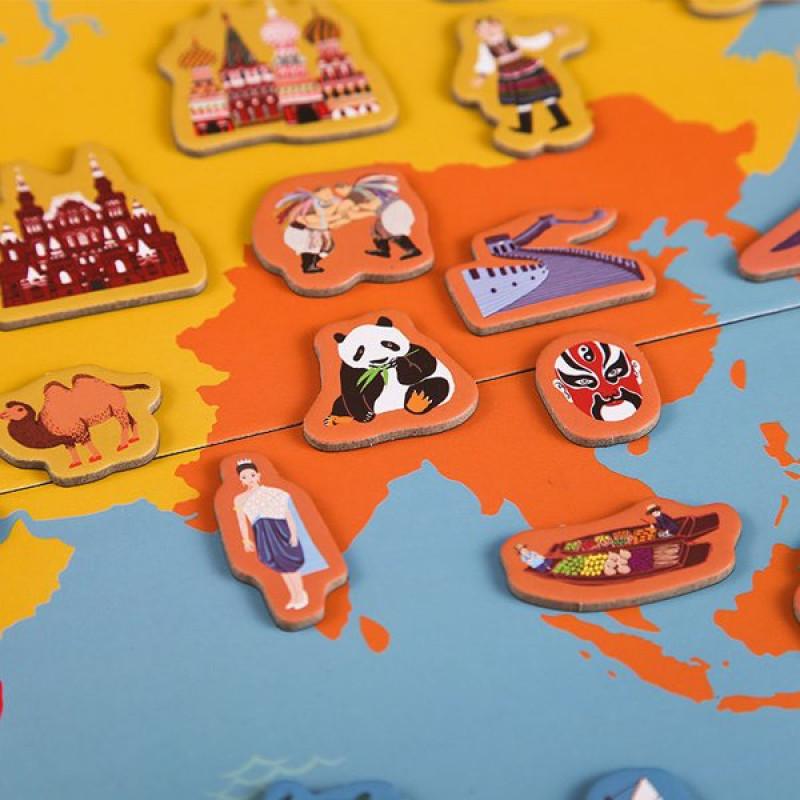 Карта мира с магнитами Изучаем географию